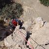"""Dave following on  """"Le festin de Barbichette"""", 5c+ (approx. 5.9+), in Agio Farango, Crete, Greece."""