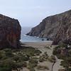 """View of the beach from the top of """"Le festin de Barbichette"""", 5c+ (approx. 5.9+), in Agio Farango, Crete, Greece."""