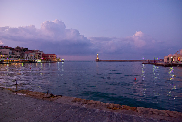 Harbour of Chania at dusk