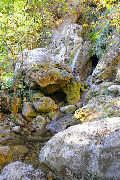 Waterfall in Mountains above the Red Caves, Crimea, Ukraine -