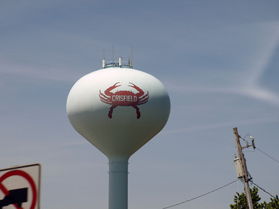 Crisfield, MD has TWO water towers emblazoned with crabs.