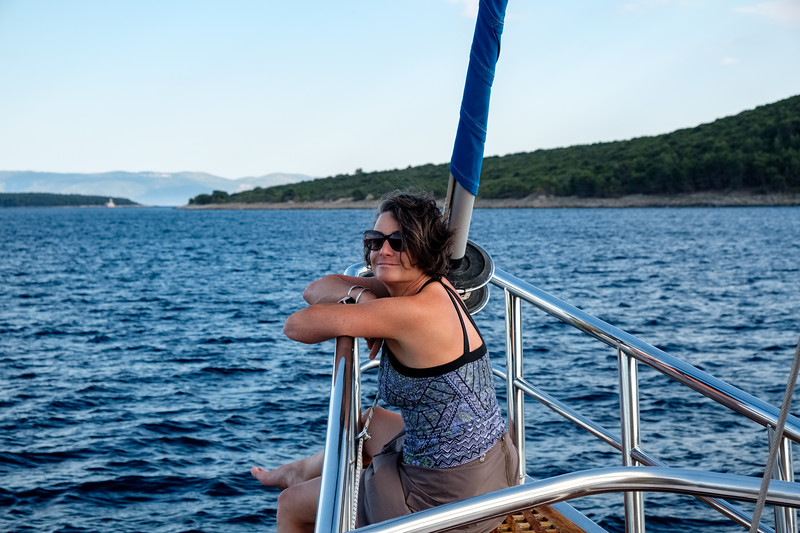 Lisa on the bow en route to Hvar