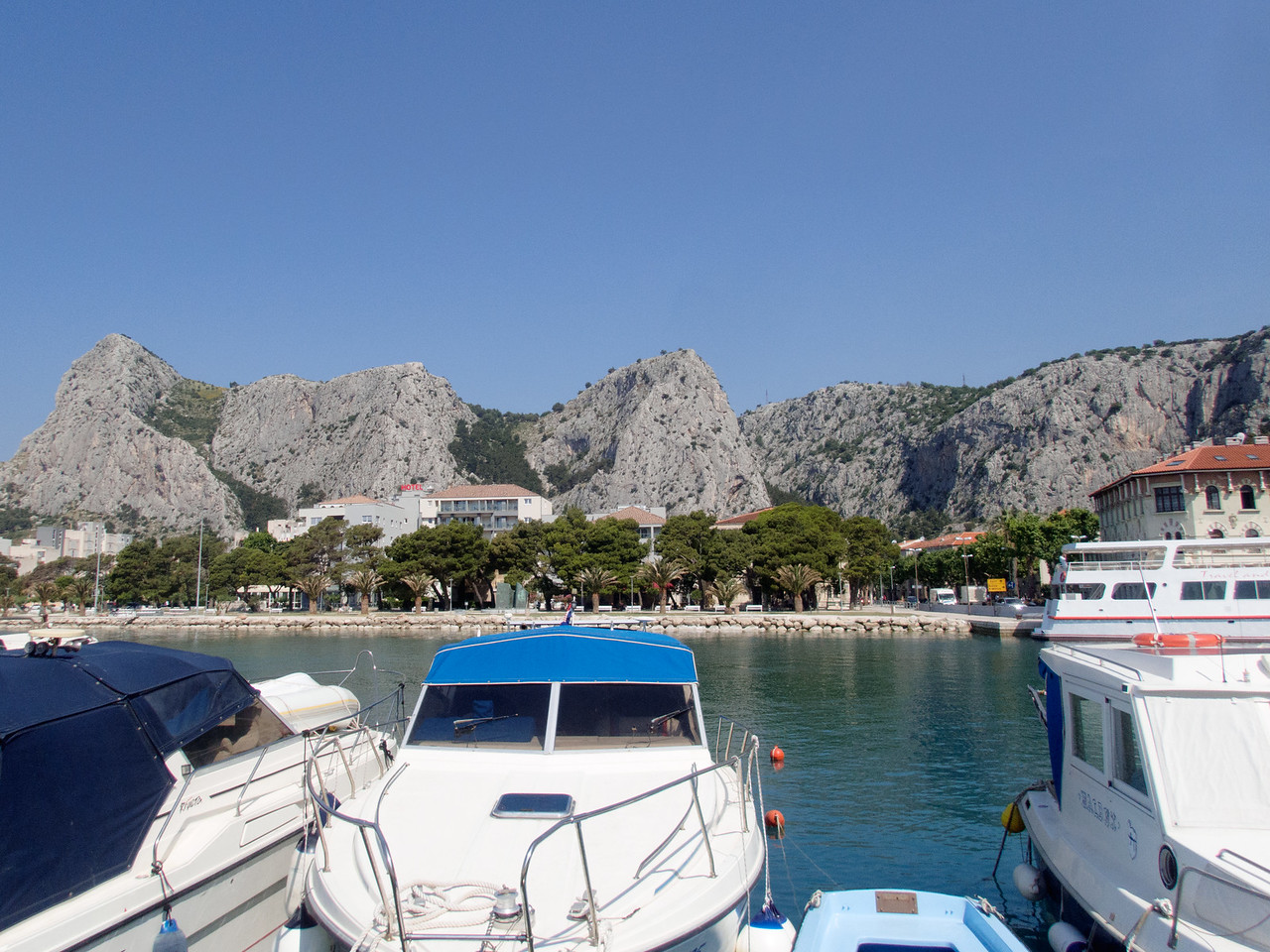 Marina in Omis as we start our ride to go rafting.