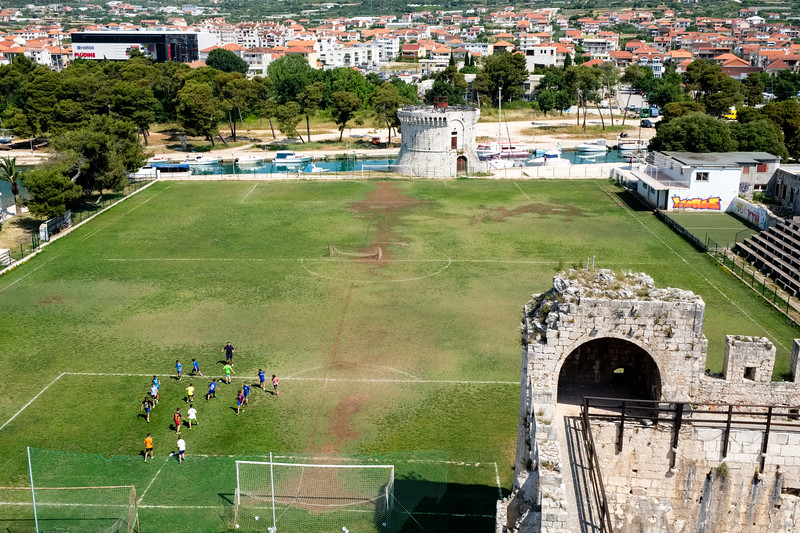A soccer field built on the grounds of Kamerlengo Castle