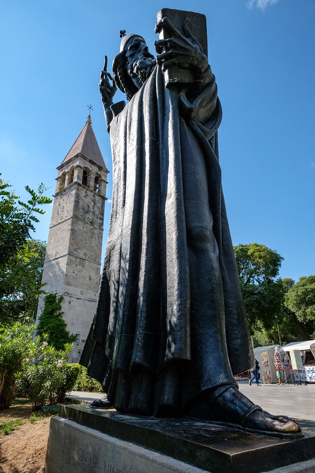 Statue of Gregory of Nin outside the Palace. People make a wish while touching his toe