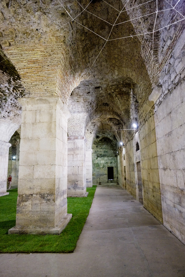 In the basement of Diocletian's Palace. The grass is an art exhibit