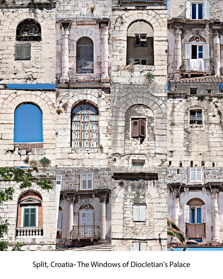 A collage of Diocletian palace windows