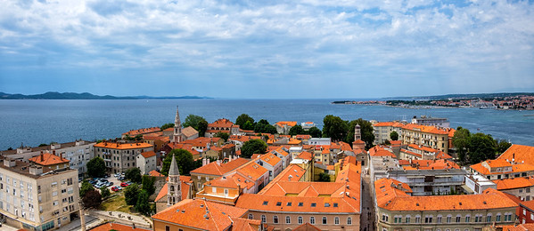 The rooftops of Zadar, as seen from the top of St Anastasia's belltower