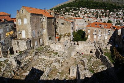 Dubrovnik was bombed by the Serbs in the early 90s.  We found a single spot of remaining damage.  I get the feeling it was left here as a reminder.