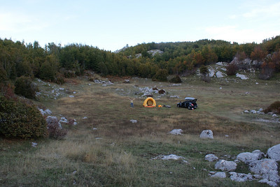 Our campsite in Lovcen.   We just pulled off the park road and camped in an open field.