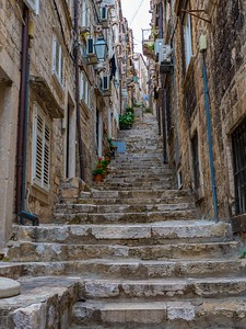 Stairs in Old Town leading to restaurants and residences...a real hazard to walkers
