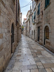 Narrow, ancient streets in Old Town before the stores open and the hordes arrive