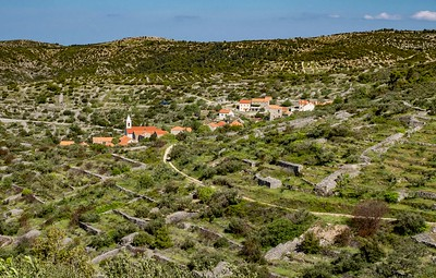 Hvar Island countryside with small village---yes we hiked from this hill top through the town to another village. Stone walls were everywhere. They were constructed to make the land useful for growing lavender and other crops