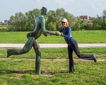 Traveler #1: Julie....dancing with a sculpture