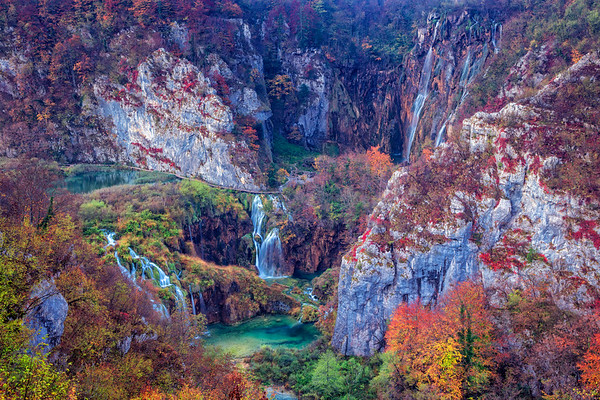Waterfalls in Plitvice Lakes.