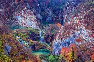 Waterfalls in Plitvice Lakes.
