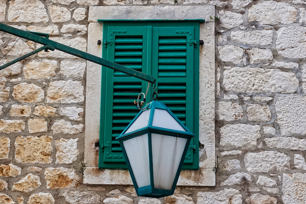 Green Shutter with Street Lamp