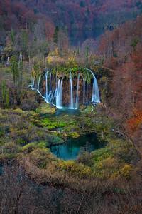 Plitvice Waterfall in autumn.