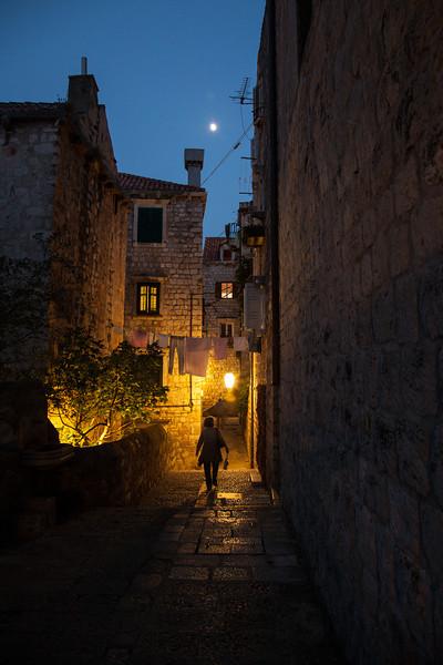 Woman walking, Dubrovnik, Croatia