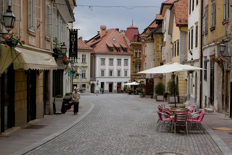 Strolling along the back streets of Ljubljana, Slovenia.