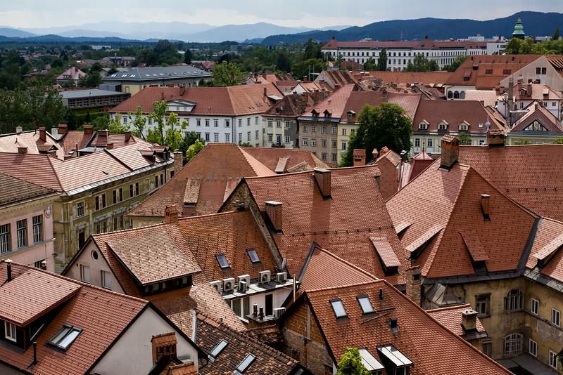 looking out over the rooftops of Ljubljana, Slovenia