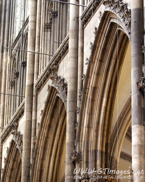 Cathedral interior gothic arches.
