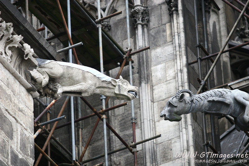 Gargoyles.<br /> <br /> I love how the gargoyle on the left is resting its front paws on a head. Unfortunately, they are working on the exterior - notice the scaffolding in the background.