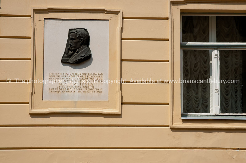"""Croatia, """"Heaven on Earth"""", small bronze profile and sign recognising one of the countries famous investors, Nikola Tesla. SEE ALSO:  <a href=""""http://www.blurb.com/b/2340783-croatia"""">http://www.blurb.com/b/2340783-croatia</a>"""