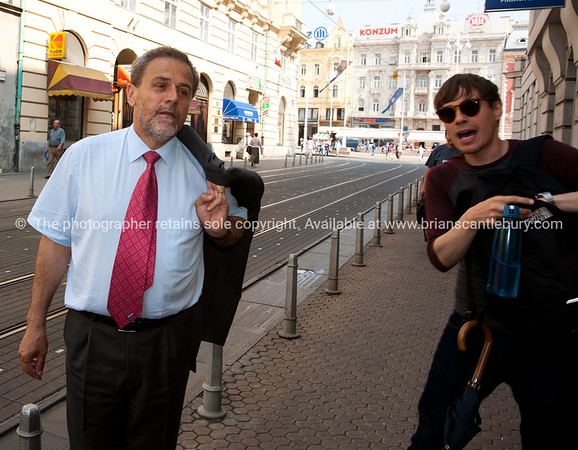"Croatia, ""Heaven on Earth"", Mayor of Zagreb with tour guide Neven on streets of the city.<br /> Model released; no, for editorial & personal use. SEE ALSO:  <a href=""http://www.blurb.com/b/2340783-croatia"">http://www.blurb.com/b/2340783-croatia</a>"