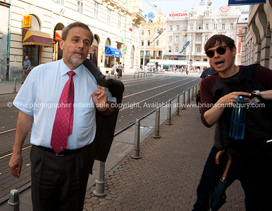 """Croatia, """"Heaven on Earth"""", Mayor of Zagreb with tour guide Neven on streets of the city. Model released; no, for editorial & personal use. SEE ALSO: www.blurb.com/b/2340783-croatia"""