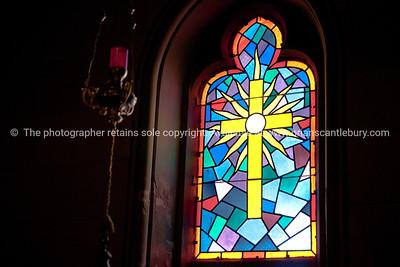 "Croatia, ""Heaven on Earth"", leadlight window, depiction of cross and candle. SEE ALSO: www.blurb.com/b/2340783-croatia"