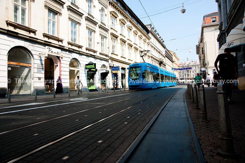 """Croatia, """"Heaven on Earth"""". The modern blue trolleybus on Illica (the city's main street) stretches from the Trg Ban Jelecica, Zagreb's main square, a vibrant, high energy CBD area. SEE ALSO:  <a href=""""http://www.blurb.com/b/2340783-croatia"""">http://www.blurb.com/b/2340783-croatia</a>"""