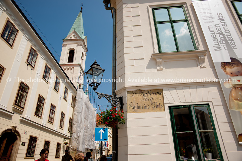 """Croatia, """"Heaven on Earth"""", Gradec (the Upper Town) street and sign for Museum of Broken Relationships. SEE ALSO:  <a href=""""http://www.blurb.com/b/2340783-croatia"""">http://www.blurb.com/b/2340783-croatia</a>"""