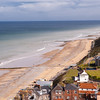 The view looking down along the East Cromer beach and  town from the top of the Cromer Parish Church.