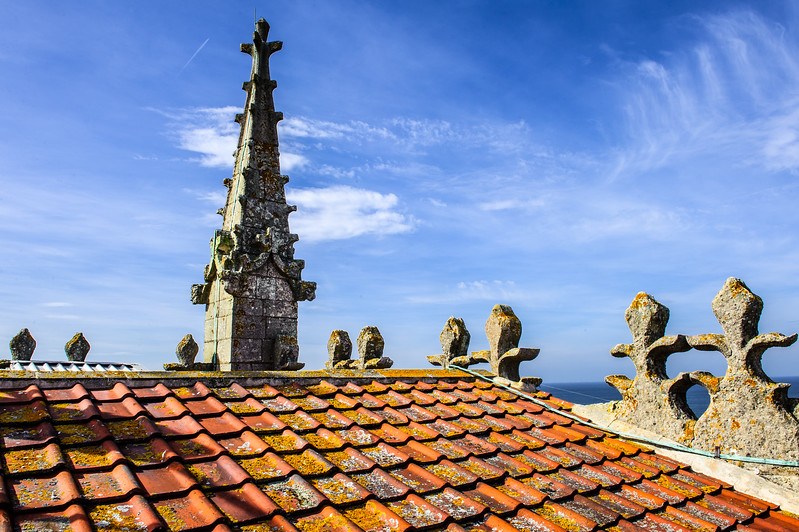 On top of the Cromer Parish Church Tower (160 feet ) above the seaside town of Cromer.