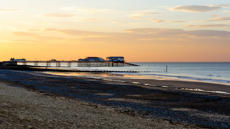 The Sunset,  Cromer Beach and the Cromer Pier