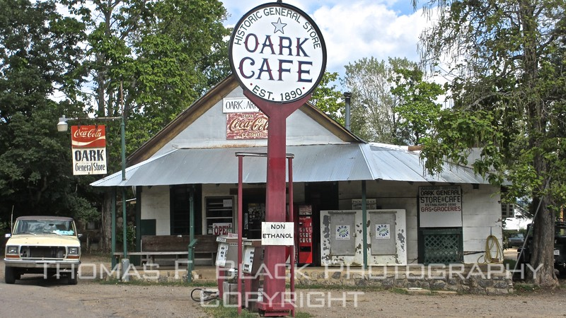 one and only general store in oscure hamlet of oark, nestled in nw corner of state. established 1890 and not painted since. president harrison declared it nation's first official landmark.