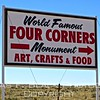 "having consulted a roadmap, I was looking forward to the ""world famous"" four corners ""monument."" siting on a native american reservation and privately operated, it would not be inaccurate to call it a tourist trap. admission $5/vehicle. way overpriced. the ""monument"" was a manhole-sized medallion in the ground engraved with crosshairs purported to pinpoint the intersection of four states -- arizona, utah, colorado and new mexico. surrounding it was a quadrant of tacky vending booths, everyone peddling the same souvenirs. I abstained, figuring $5 was enough of a ripoff."