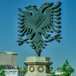 The double-headed eagle symbol of Albania and its people. for whom the eagle denotes pride, heroism, strength including their ability to survive historical calamities.