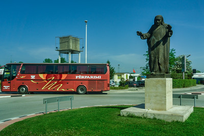 Statue of Mother Teresa who was of Albanian-Indian origin and is greatly revered in Albania.  The international airport in Tirana is named after her (Tirana International Airport Nënë Tereza)