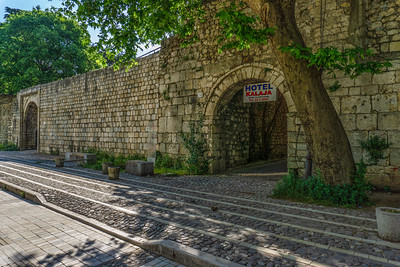 Wall of the Fortress of Justinian which dates back before 1300. is adjacent to a hotel.  The Fortress is under renovation.
