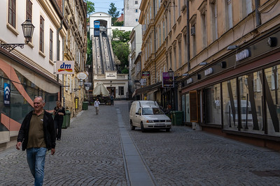 A view of the funicular to the Upper Town in Zagreb.
