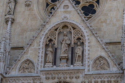 Detail of the front entry to the Zagreb Cathedral (Cathedral of St. Stephen.  It is  the tallest building in Croatia as wll as the most monumental sacral building in Gothic style southeast of the Alps. It is dedicated to the Assumption of Mary and to kings Saint Stephen and Saint Ladislaus.