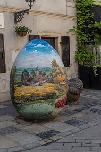 A beautiful colored egg in Zagreb Old Town