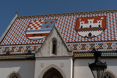 The tiled roof of St. Mark's Church dates from 1880.  The rest of the church dates from the 13th century.