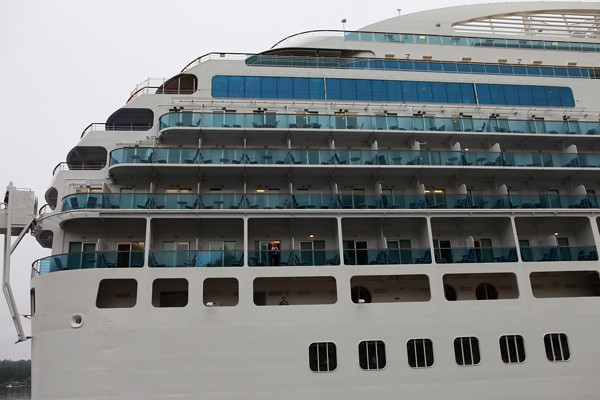 Island Princess docked at Ketchikan. Our room is the fourth balcony room from left to right starting from the lower section of balcony rooms.