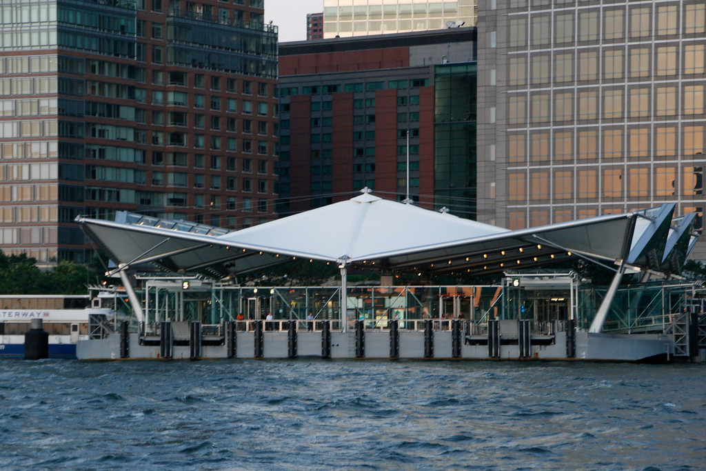 This is the new NY terminal for the NY Waterway Ferry. I pass through here when I go to the city. It is a ridiculous fact that $55-million was spent to build what is ostensibly an open-air tent.