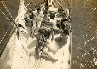 "Crew on ""Waipru"", a visiting yacht, possibly from New Zealand, at Nuka a'lofa, Tonga."