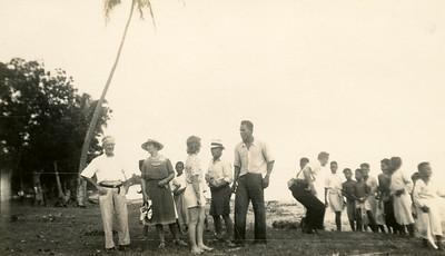 Convivial welcome ashore, Nomuka, Tongan Islands.