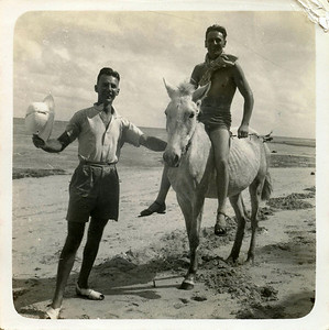 Dad on horseback; horse probably thinner,